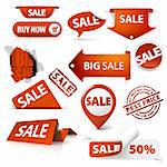 Collection of red sale tickets, labels, stamps, stickers, corners, tags on white background Stock Photo - Royalty-Free, Artist: orsonsurf                     , Code: 400-05715713