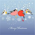 graphic bright Christmas greeting card with a birdie on the purple background with snow Stock Photo - Royalty-Free, Artist: tanor                         , Code: 400-05715785