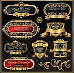 Retro royal vintage gold frames Stock Photo - Royalty-Free, Artist: hugolacasse                   , Code: 400-05715959