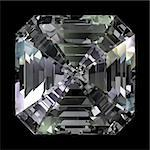 Asscher Cut Diamond isolated on black background Stock Photo - Royalty-Free, Artist: Zelfit                        , Code: 400-05716063