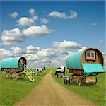 Old Gypsy Caravans, Trailers, Wagons with Horses Stock Photo - Royalty-Free, Artist: Binkski                       , Code: 400-05716152