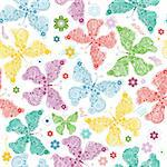 Seamless wallpaper with pastel colorful butterflies (vector)