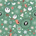 New seamless design with birds and berries on a green background with snowflakes
