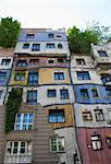 Hundertwasser Facade - view from the street  - vienna Stock Photo - Royalty-Free, Artist: lindom                        , Code: 400-05716373