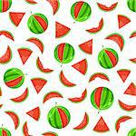 Juicy Whole and Sliced Watermelon Seamless Pattern on White Background Stock Photo - Royalty-Free, Artist: nikifiva                      , Code: 400-05717203