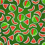 Juicy Watermelon Seamless Pattern on Dark Green Background