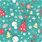 New seamless pattern of trees and snowmen on blue and green background with snowflakes