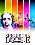 King of the discotheque flyer tor alternative music event poster. basckground is full of glitter and flow of lights with rainbow tone Stock Photo - Royalty-Free, Artist: DavidArts                     , Code: 400-05719078