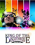 King of the discotheque flyer tor alternative music event poster. basckground is full of glitter and flow of lights with rainbow tone Stock Photo - Royalty-Free, Artist: DavidArts                     , Code: 400-05719079