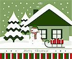 vector christmas card with snowman pulling sledge with gifts, Adobe Illustrator 8 format Stock Photo - Royalty-Free, Artist: beta757                       , Code: 400-05719086