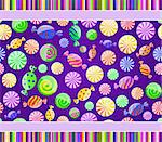 colorful candy seamless pattern on dark violet background with lines. Vector illustration