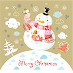 a bright new year card with snowmen and birds in the background with clouds and Christmas trees Stock Photo - Royalty-Free, Artist: tanor                         , Code: 400-05719145