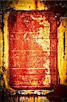 The rusty window shut by an old plate of yellow-red color Stock Photo - Royalty-Free, Artist: LeksusTuss                    , Code: 400-05719239