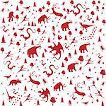 seamless background with Prehistoric Era, animals in red color Stock Photo - Royalty-Free, Artist: BooblGum                      , Code: 400-05719266