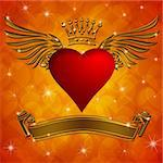 Valentine's Day Heart with Crown Wings Banner and Sparkles on Blurred Background Stock Photo - Royalty-Free, Artist: jpldesigns                    , Code: 400-05719371