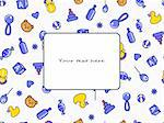 Kid's blue yellow greeting card. Seamless doodle pattern in violet and orange colors. Vector illustration isolated on white background