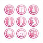 set of 9 pink christmas signs Stock Photo - Royalty-Free, Artist: LxIsabelle                    , Code: 400-05719634