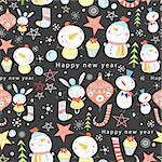 seamless colorful pattern of snowmen and toys on a dark background