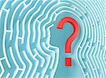 Question mark inside a maze in the shape of human head. Stock Photo - Royalty-Free, Artist: ktsimage                      , Code: 400-05719866