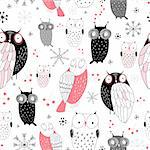 seamless black and pink pattern of the fun owls on a white background with snowflakes