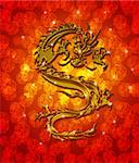 Golden Metallic Chinese Oriental Dragon on Red Blurred Background Illustration Stock Photo - Royalty-Free, Artist: jpldesigns                    , Code: 400-05720629