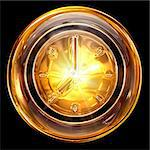 Clock icon golden, isolated on black background Stock Photo - Royalty-Free, Artist: zeffss                        , Code: 400-05720635