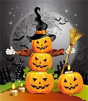 Halloween pumpkin with witches hat Stock Photo - Royalty-Freenull, Code: 400-05720687