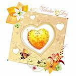 Valentine's day card. Heart with lily and butterfly Stock Photo - Royalty-Free, Artist: Merlinul                      , Code: 400-05720691
