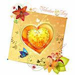 Valentine's day card. Heart with lily and butterfly Stock Photo - Royalty-Free, Artist: Merlinul                      , Code: 400-05720692
