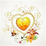 Valentine's day card. Heart with lily and butterfly Stock Photo - Royalty-Free, Artist: Merlinul                      , Code: 400-05720693