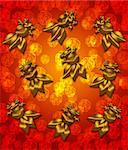 Golden Metallic Chinese Goldfish on Red Blurred Background Illustration Stock Photo - Royalty-Free, Artist: jpldesigns                    , Code: 400-05721372