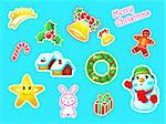 Colorful New Year and Christmas decoration stickers Stock Photo - Royalty-Free, Artist: sahua                         , Code: 400-05721516