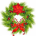 Christmas Wreath over white. EPS 8, AI, JPEG Stock Photo - Royalty-Free, Artist: jara3000                      , Code: 400-05721566