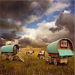 Old Gypsy Caravans, Trailers, Wagons with Horses Stock Photo - Royalty-Free, Artist: Binkski                       , Code: 400-05721649