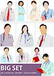 Big set of Medical doctor silhouettes with stethoscope. Vector illustration Stock Photo - Royalty-Free, Artist: leonido                       , Code: 400-05721760