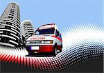 Abstract urban background with ambulance image. Vector illustration Stock Photo - Royalty-Free, Artist: leonido                       , Code: 400-05721764