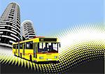 City transport on city background. Bus. Vector illustration Stock Photo - Royalty-Free, Artist: leonido                       , Code: 400-05721766