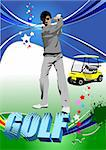 Golf players. Vector illustration Stock Photo - Royalty-Free, Artist: leonido                       , Code: 400-05721792
