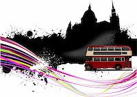Grunge London images with buses image. Vector illustration Stock Photo - Royalty-Freenull, Code: 400-05721793