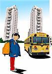 Dormitory and school bus. School girl. Back to school. Vector illustration Stock Photo - Royalty-Free, Artist: leonido                       , Code: 400-05721828