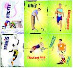 Six sport posters. Track and field, Ice hockey, tennis, soccer,  golf. Vector illustration Stock Photo - Royalty-Free, Artist: leonido                       , Code: 400-05721839
