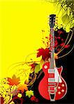 Cover for brochure with autumn leaves and guitar image. Vector illustration Stock Photo - Royalty-Free, Artist: leonido                       , Code: 400-05721880