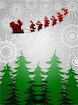 Santa Sleigh Reindeer Flying Over Trees on Silver Sun Star Background Illustration Stock Photo - Royalty-Free, Artist: jpldesigns                    , Code: 400-05721919