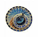 Astronomical clock in Prague isolated on the white background Stock Photo - Royalty-Free, Artist: Fyletto                       , Code: 400-05722315
