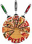 Pizza slices on the cutting board and italian flag Stock Photo - Royalty-Free, Artist: catalby                       , Code: 400-05723387