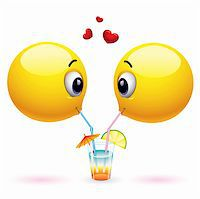 Couple of smiling balls sharing drink Stock Photo - Royalty-Freenull, Code: 400-05724049