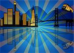 Reflection of San Francisco City Skyline at Night Illustration