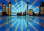 Reflection of Seattle Washington City Skyline at Night Illustration