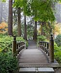 Foggy Morning by Wooden Foot Bridge at Japanese Garden in Autumn Stock Photo - Royalty-Free, Artist: jpldesigns                    , Code: 400-05724081