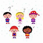 Little multicultural Kids singing Christmas Carol. Vector cartoon.  Stock Photo - Royalty-Free, Artist: lordalea                      , Code: 400-05724506